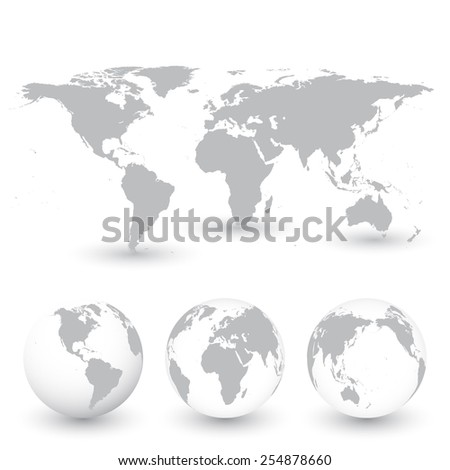 Grey World Map and Globes vector Illustration - stock vector