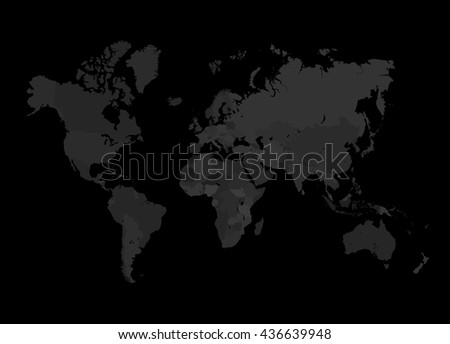 World map poster contemporary black grey style framed cork pin grey world map vector illustration empty stock vector black and grey world map gumiabroncs Choice Image