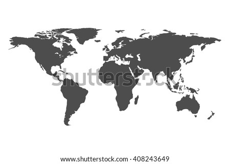 Grey world map vector isolated on stock vector 408243649 shutterstock grey world map vector isolated on white background flat earth template globe icon gumiabroncs Gallery