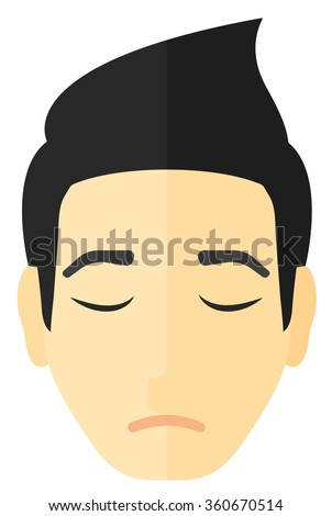 Grieving man with eyes closed. - stock vector