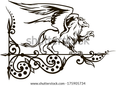 griffin, a mythical medieval, heraldic animal, vector illustration - stock vector