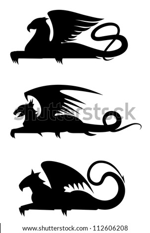 Griffin black silhouettes set for heraldry design, such a logo. Jpeg version also available in gallery - stock vector