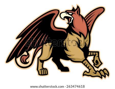griffin mythology creature mascot - stock vector