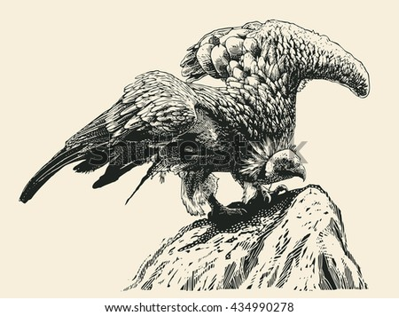 Griffon Vulture On The Rock. Retro Engraving Linocut Style. Vector Illustration.