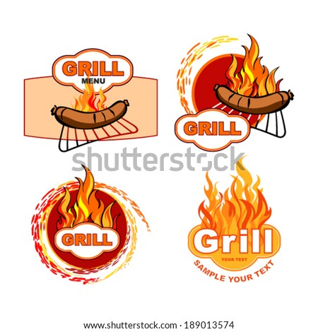 Grill and Barbecue labels and signs