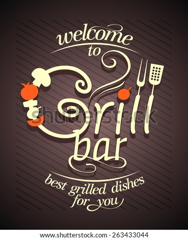 Grill bar card design, vintage style. - stock vector