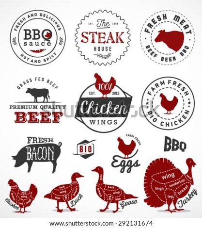 Grill, Barbecue and Steak Design Elements in Vintage Style - stock vector
