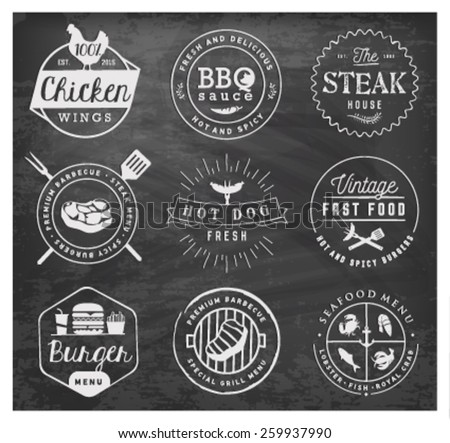 Grill, Barbecue, Burger, Hot Dog, Seafood Design Elements on Chalkboard - stock vector