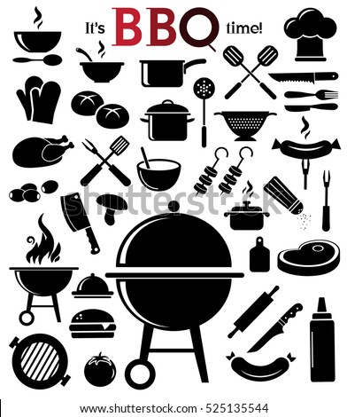 Grill, barbecue icon set on bright, neutral background. Vector art.