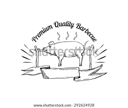 Grill, barbecue, picnic, camping logo with hand drawn element of pig. Vector illustration. - stock vector