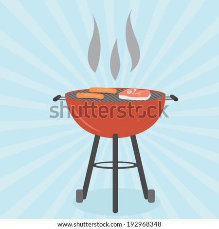 Grill BBQ Cookout Vector - stock vector