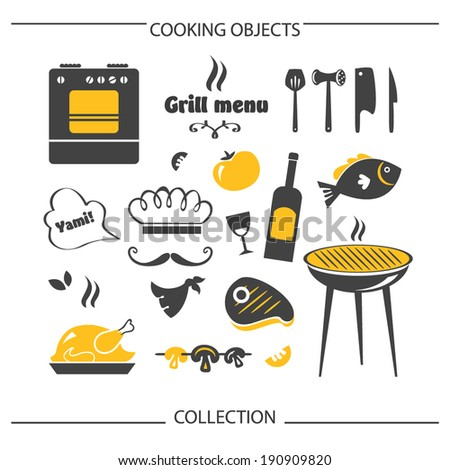 Grill Cooking objects collection - stock vector