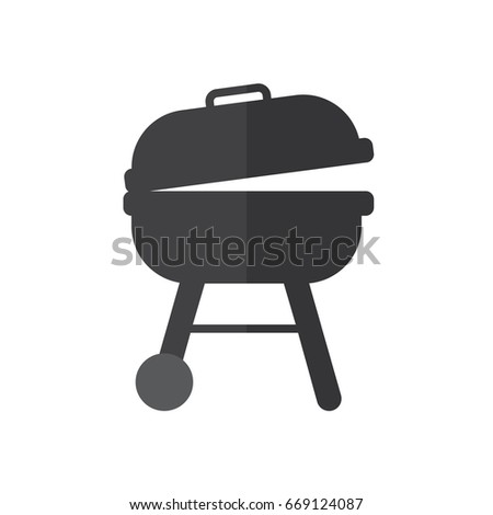 Grill flat icon, filled vector sign, colorful pictogram isolated on white. Bbq symbol, logo illustration. Flat style design