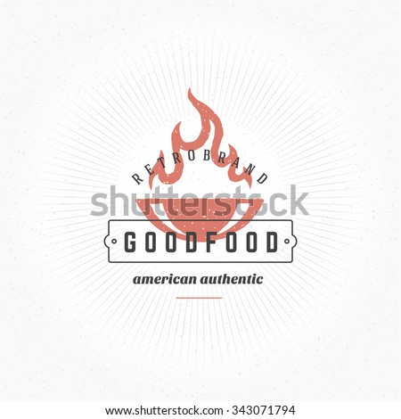 Grill Hand Drawn Design Element in Vintage Style for Logotype, Label, Badge and other design. Fire flame retro vector illustration. - stock vector