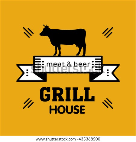 Grill house. Vintage grill logo on a yellow background. Meat and beer.