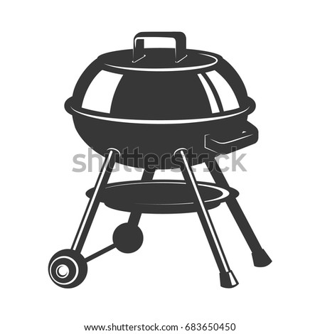 Grill icon isolated on white background. Design elements for logo, label, emblem, sign, badge. Vector illustration