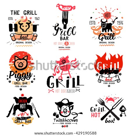 Grill illustrations and logos. Drawings and symbols are handmade on the subject of barbecue and grilling. Natural meat products. - stock vector