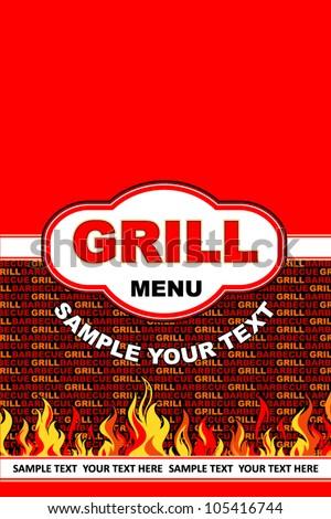Grill menu card design. - stock vector