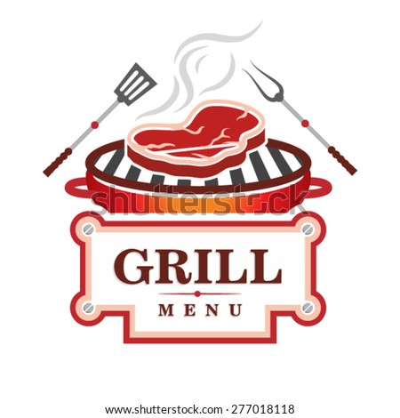 grill menu design - stock vector