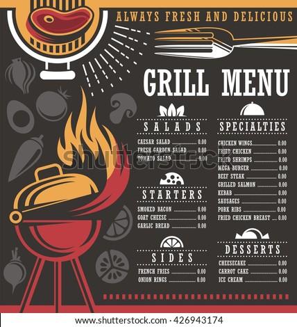 Grill menu design template. - stock vector