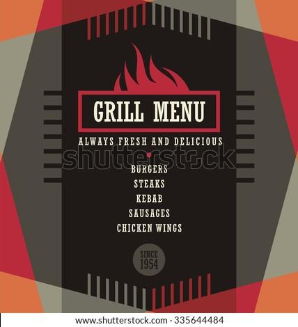Grill menu design template. Creative flyer layout concept. - stock vector