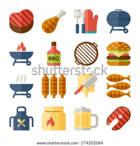 Grill Or Barbecue flat Icons - stock vector