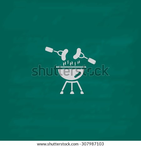 Grill Or Barbecue. Icon. Imitation draw with white chalk on green chalkboard. Flat Pictogram and School board background. Vector illustration symbol