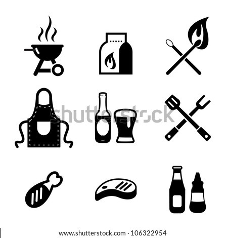 Grill Or Barbecue Icons - stock vector
