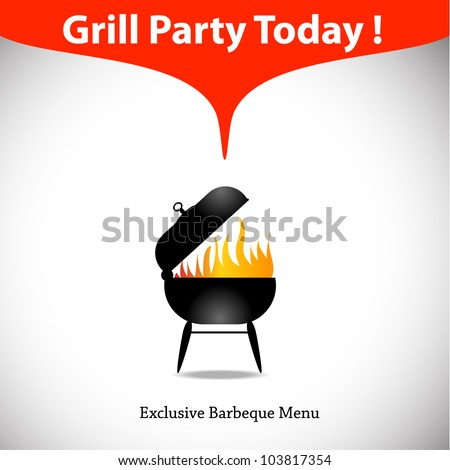 Grill or barbecue vector template. Great as design element for restaurant. Eps 10 - stock vector
