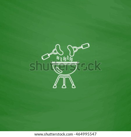 Grill Outline vector icon. Imitation draw with white chalk on green chalkboard. Flat Pictogram and School board background. Illustration symbol
