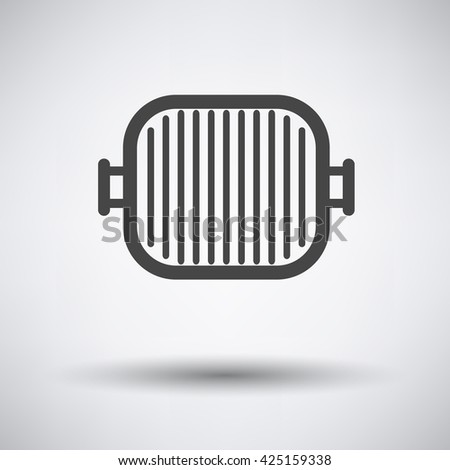 Grill pan icon on gray background with round shadow. Vector illustration. - stock vector