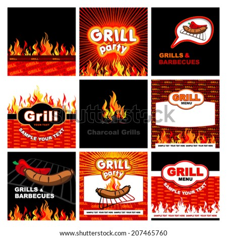 grill signs - stock vector
