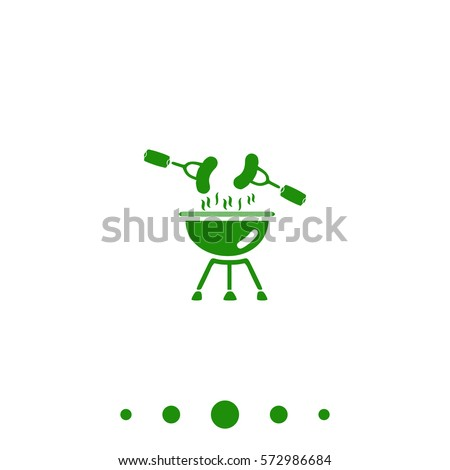 Grill Simple vector button. Flat green icon on white background