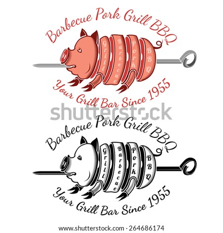grill slice pork on roasting-jack color and black bbq label - stock vector