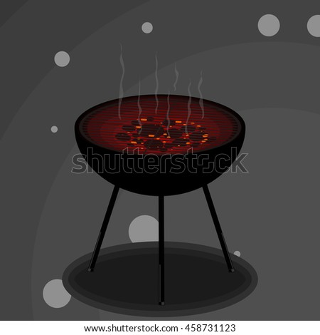Grill with smoke. Vector illustration.