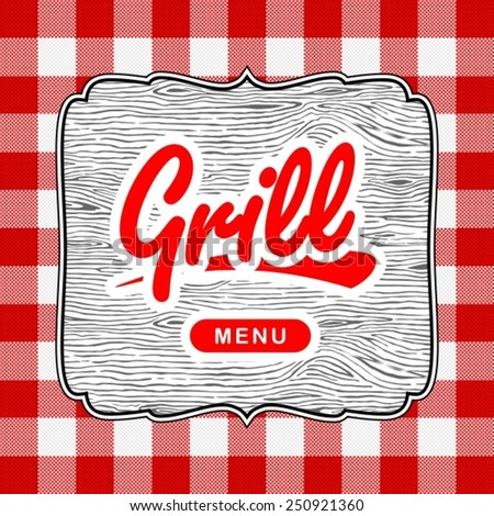 Grill wooden label on red pattern background - stock vector
