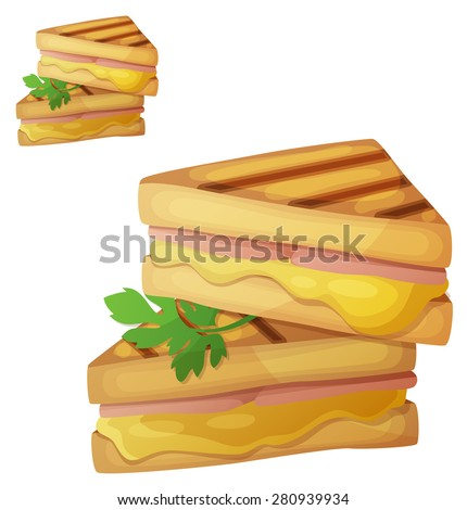 Grilled cheese sandwich. Detailed vector icon isolated on white background. Series of food and drink and ingredients for cooking.