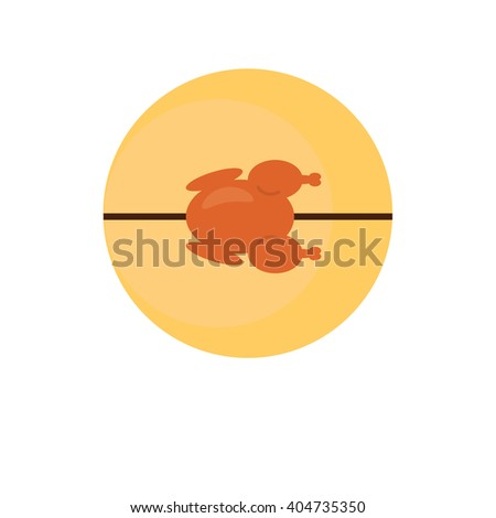 Grilled chicken on a spit. The emblem or logo of the company. - stock vector
