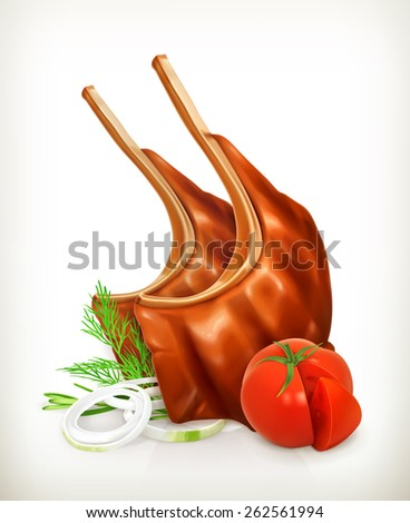 Grilled meat rib with vegetables, vector icon - stock vector