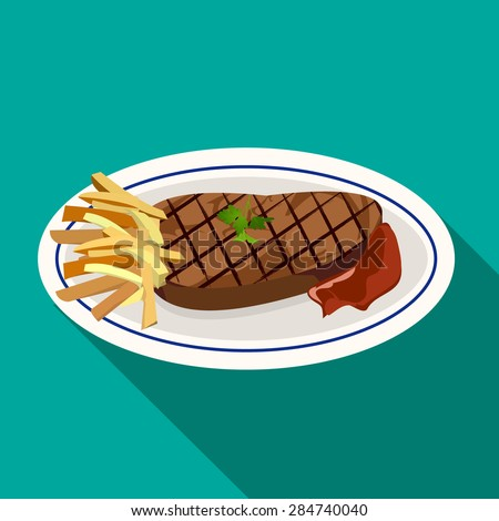 Grilled meat steak with french fries, green herb and ketchup on white dish in flat icon style