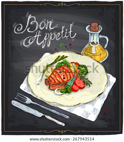 Grilled salmon steak on a plate with lime, cherry tomatoes and broccoli served with sauce, hand drawn illustration on a chalkboard. Bon appetit. - stock vector