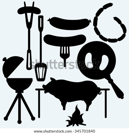 Grilled sausage on fork and on frying pan, set of bbq objects, and roasted pig. Isolated on blue background. Vector silhouettes - stock vector