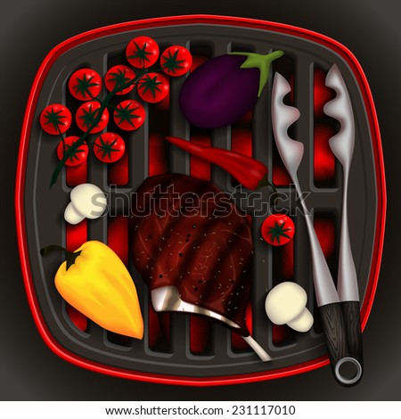 Grilled steak rib-eye and vegetables on the grill and tongs for grilling. - stock vector