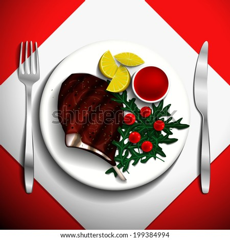 Grilled steak rib-eye with cherry tomato, lemon and arugula on white plate. - stock vector