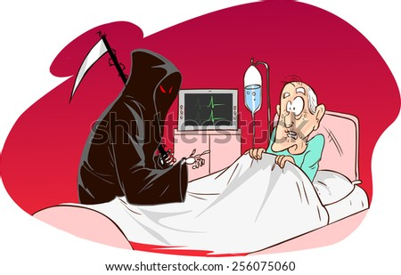Grim Reaper and patient - stock vector