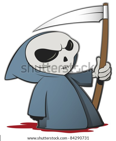 Grim reaper cartoon character isolated on a white background - Vector - stock vector