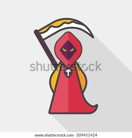 Grim Reaper flat icon with long shadow, eps10 - stock vector