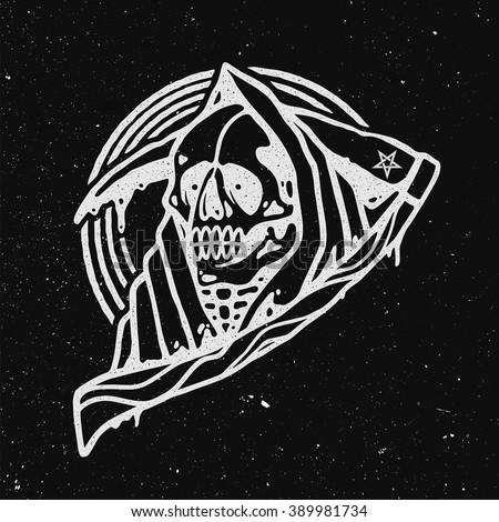 Grim Reaper Illustration. - stock vector