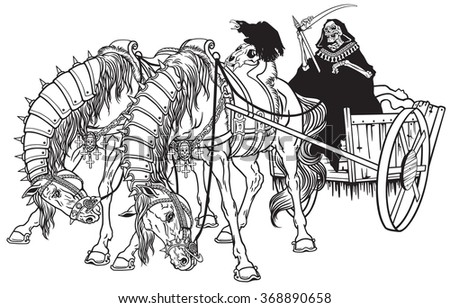 grim reaper in a cart of death harnessed by two horses . Black and white illustration
