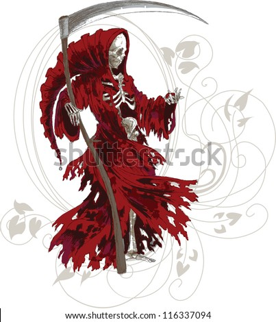 Grim Reaper in red cloak with scythe - stock vector